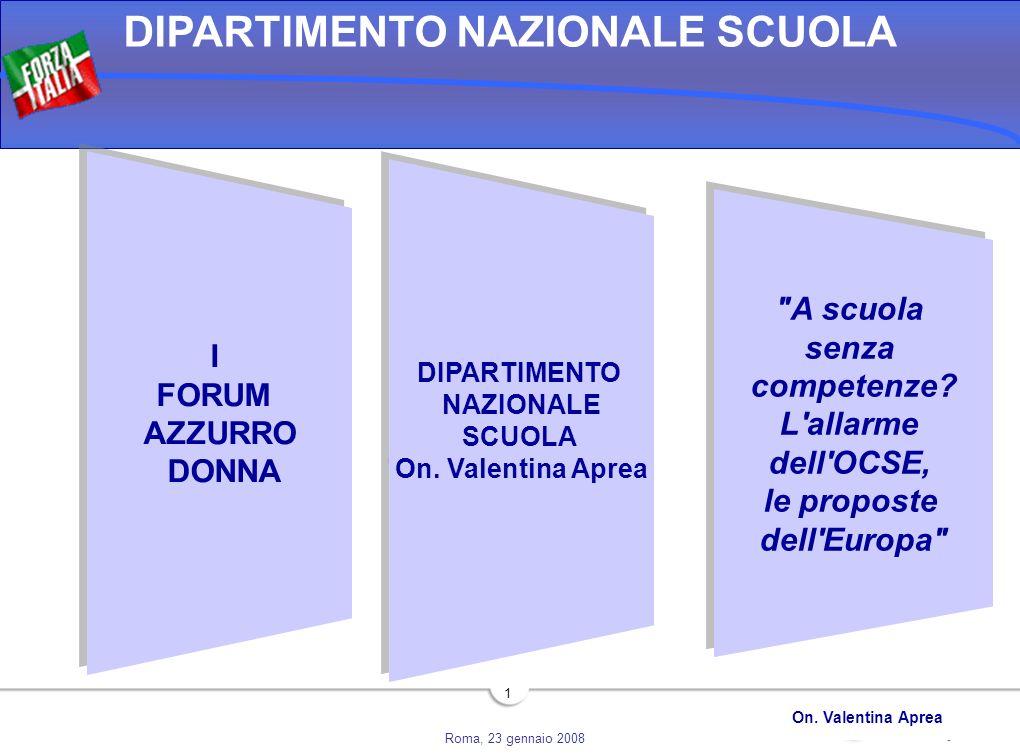 Roma, 23 gennaio 2008 DIPARTIMENTO NAZIONALE SCUOLA On. Valentina Aprea 1 DIPARTIMENTO NAZIONALE SCUOLA On. Valentina Aprea DIPARTIMENTO NAZIONALE SCU