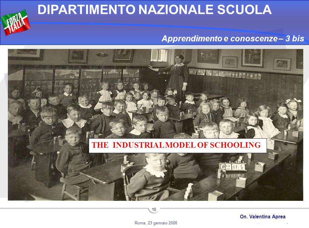 Roma, 23 gennaio 2008 DIPARTIMENTO NAZIONALE SCUOLA On. Valentina Aprea 10 Apprendimento e conoscenze – 3 bis THE INDUSTRIAL MODEL OF SCHOOLING