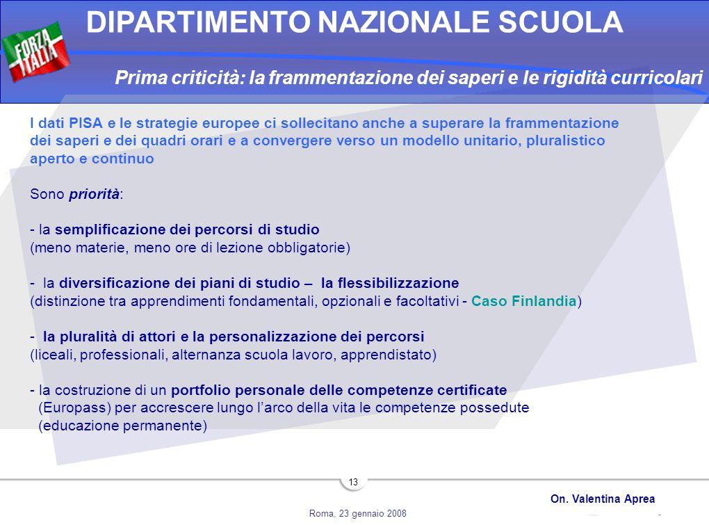 Roma, 23 gennaio 2008 DIPARTIMENTO NAZIONALE SCUOLA On. Valentina Aprea 13 Prima criticità: la frammentazione dei saperi e le rigidità curricolari I d