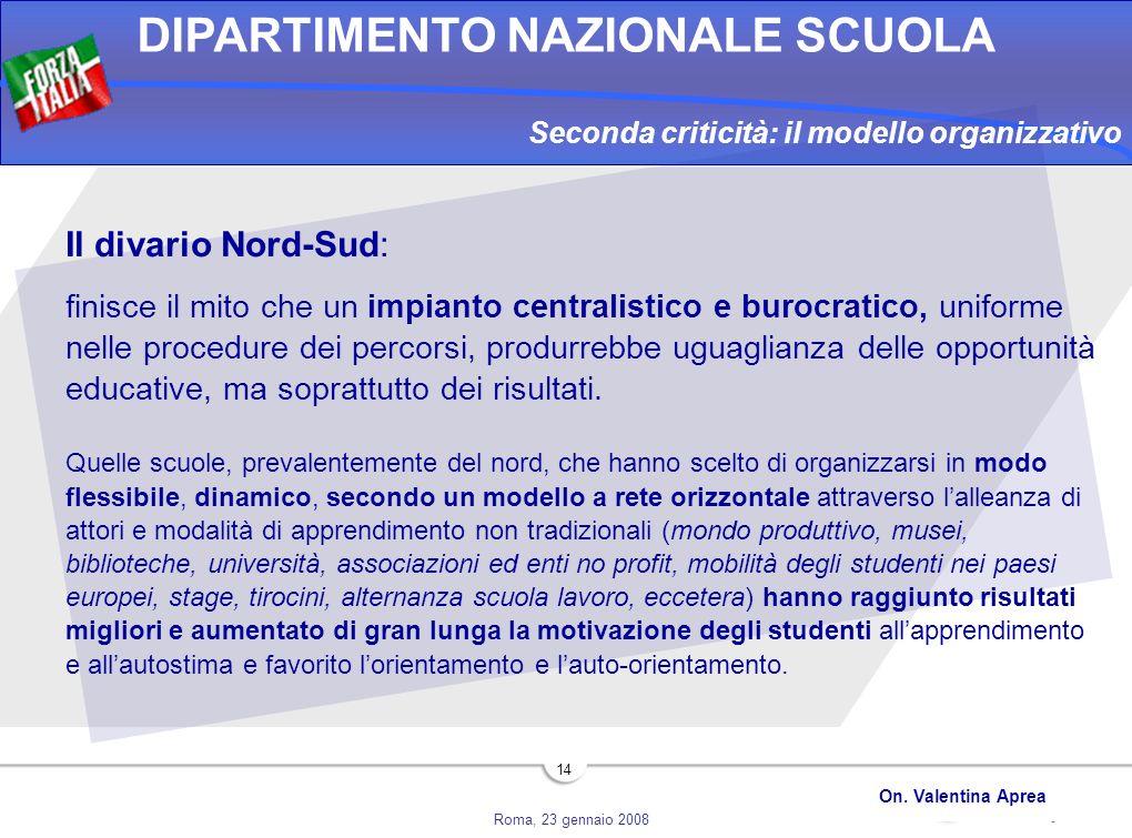Roma, 23 gennaio 2008 DIPARTIMENTO NAZIONALE SCUOLA On. Valentina Aprea 14 Seconda criticità: il modello organizzativo Il divario Nord-Sud: finisce il