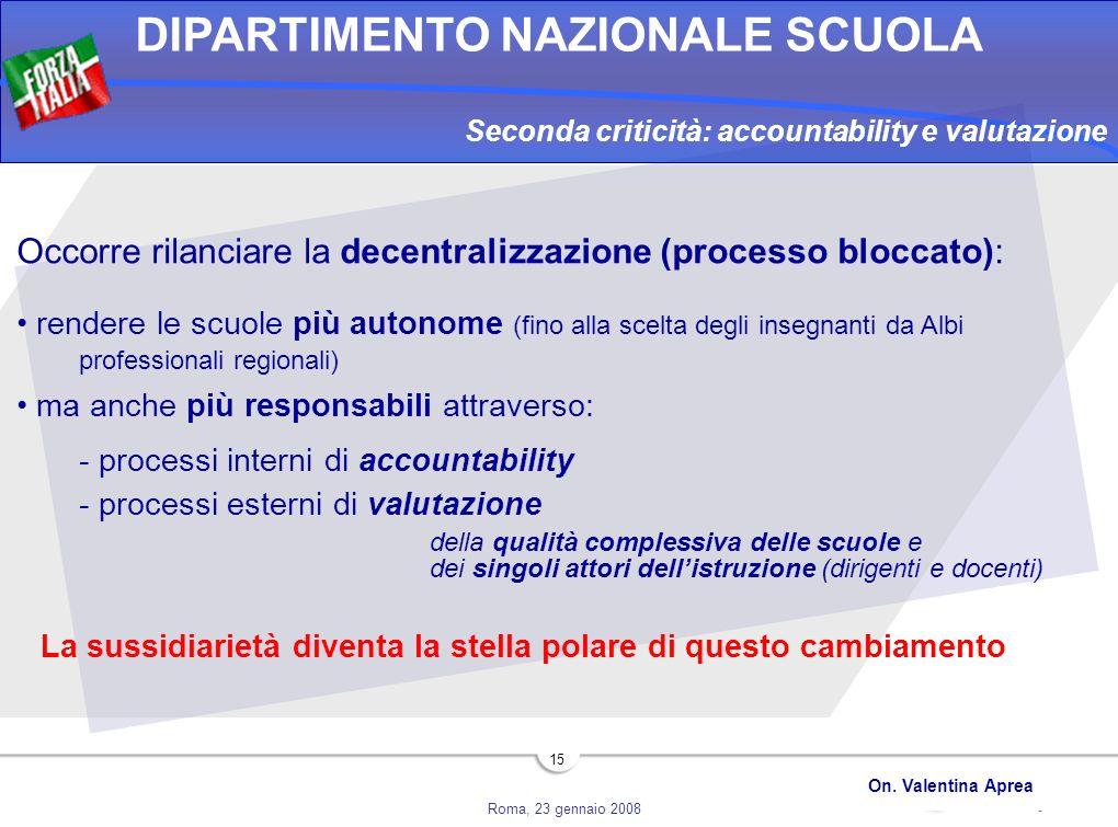Roma, 23 gennaio 2008 DIPARTIMENTO NAZIONALE SCUOLA On. Valentina Aprea 15 Seconda criticità: accountability e valutazione Occorre rilanciare la decen