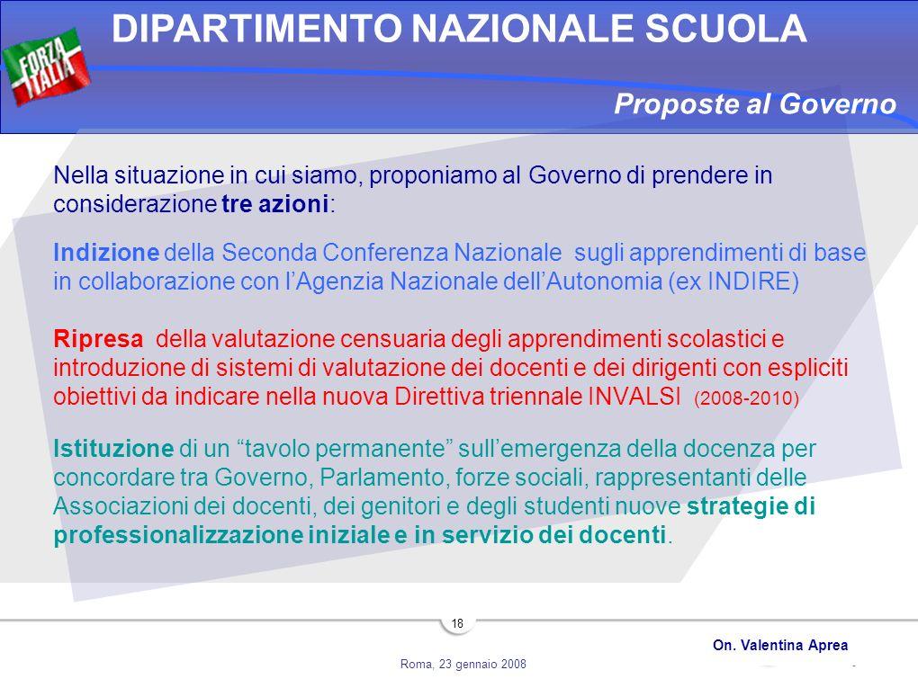Roma, 23 gennaio 2008 DIPARTIMENTO NAZIONALE SCUOLA On. Valentina Aprea 18 Nella situazione in cui siamo, proponiamo al Governo di prendere in conside