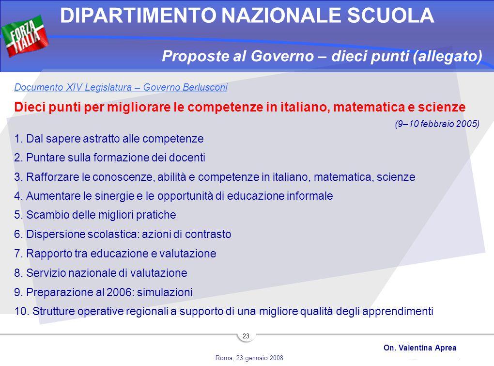 Roma, 23 gennaio 2008 DIPARTIMENTO NAZIONALE SCUOLA On. Valentina Aprea 23 Proposte al Governo – dieci punti (allegato) Documento XIV Legislatura – Go