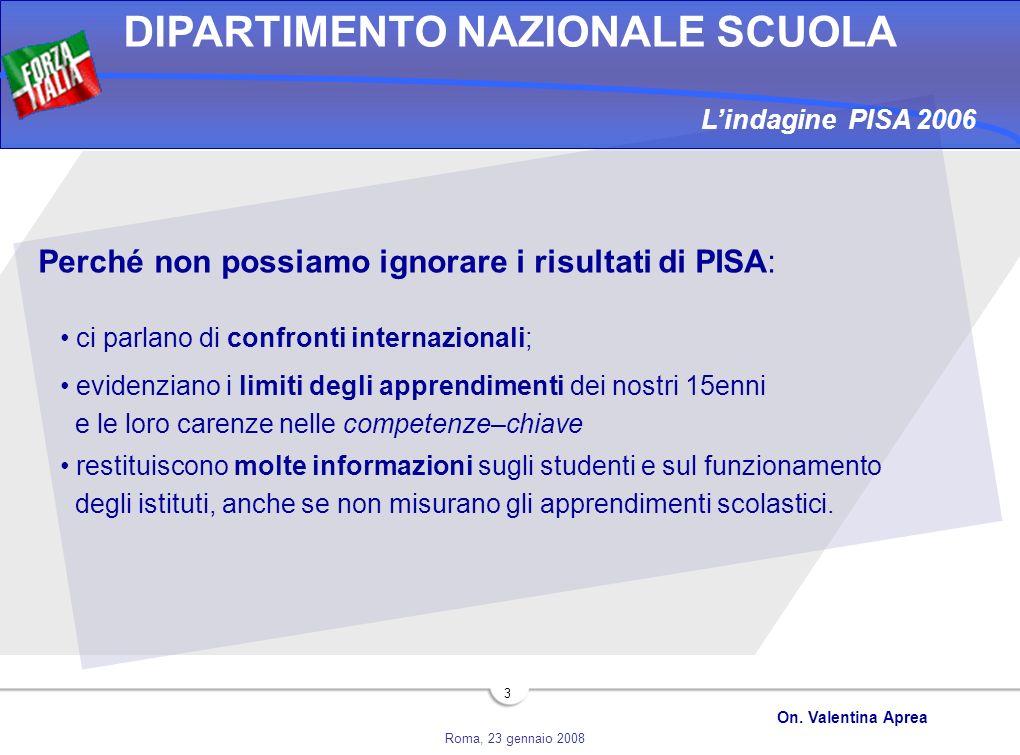 Roma, 23 gennaio 2008 DIPARTIMENTO NAZIONALE SCUOLA On. Valentina Aprea 3 Perché non possiamo ignorare i risultati di PISA: ci parlano di confronti in