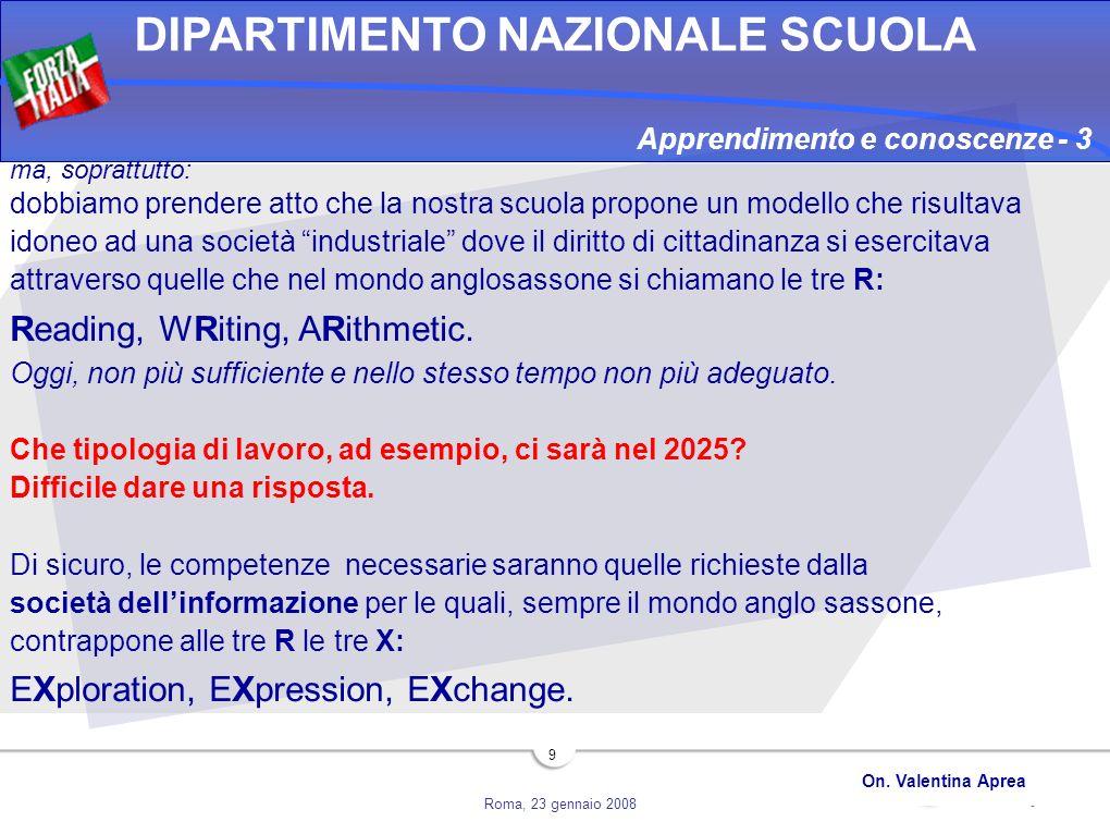 Roma, 23 gennaio 2008 DIPARTIMENTO NAZIONALE SCUOLA On. Valentina Aprea 9 ma, soprattutto: dobbiamo prendere atto che la nostra scuola propone un mode