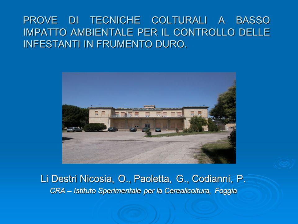 PROVE DI TECNICHE COLTURALI A BASSO IMPATTO AMBIENTALE PER IL CONTROLLO DELLE INFESTANTI IN FRUMENTO DURO. Li Destri Nicosia, O., Paoletta, G., Codian