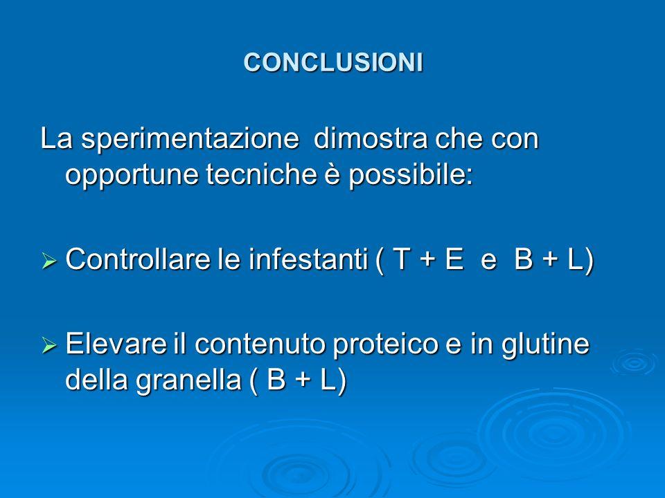 CONCLUSIONI La sperimentazione dimostra che con opportune tecniche è possibile: Controllare le infestanti ( T + E e B + L) Controllare le infestanti (