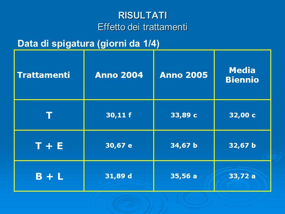 RISULTATI Effetto dei trattamenti Data di spigatura (giorni da 1/4) TrattamentiAnno 2004Anno 2005 Media Biennio T 30,11 f33,89 c32,00 c T + E 30,67 e3