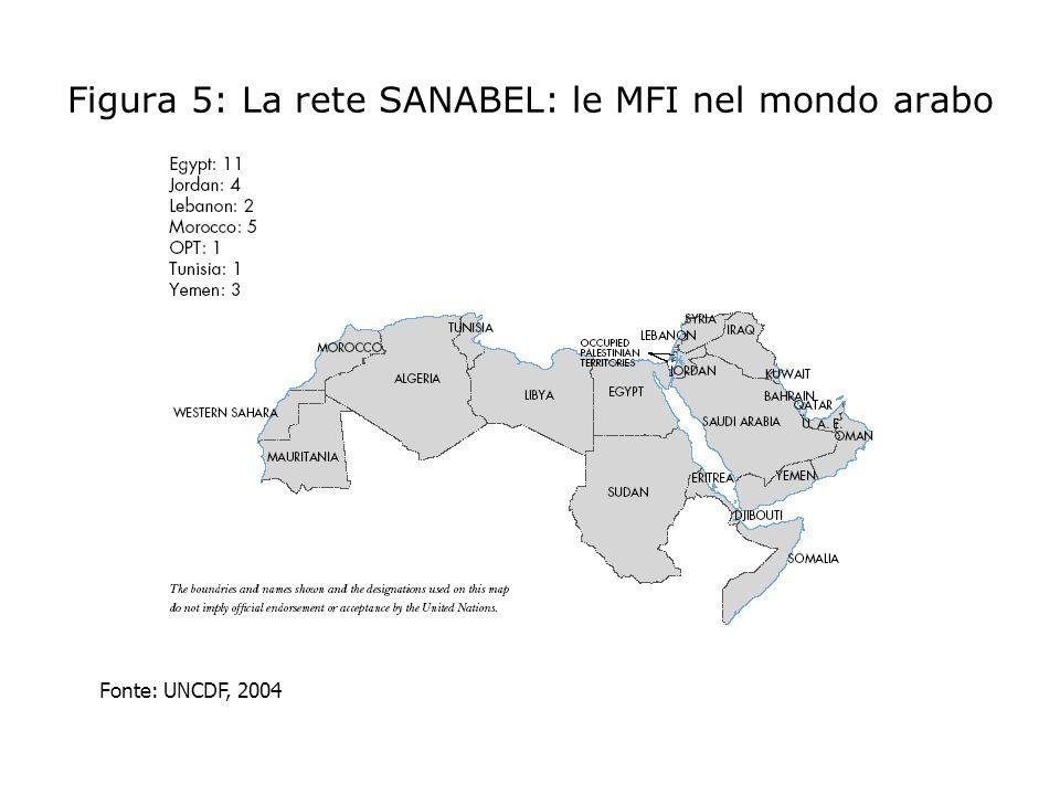 Tabella 3: La microfinanza nei paesi arabi del Mediterraneo Fonte: UNCDF, 2004