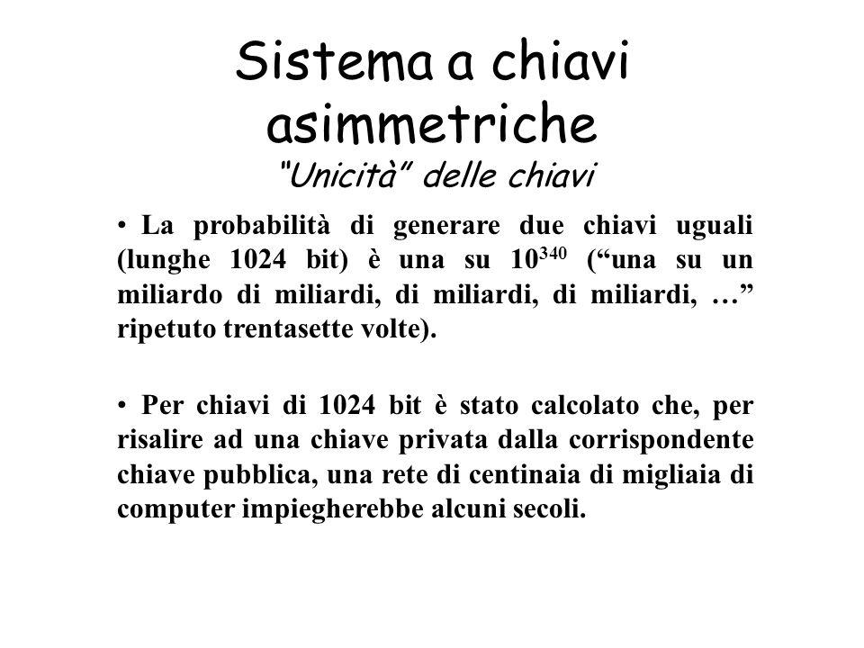 Sistema a chiavi asimmetriche Unicità delle chiavi Per chiavi di 1024 bit è stato calcolato che, per risalire ad una chiave privata dalla corrisponden