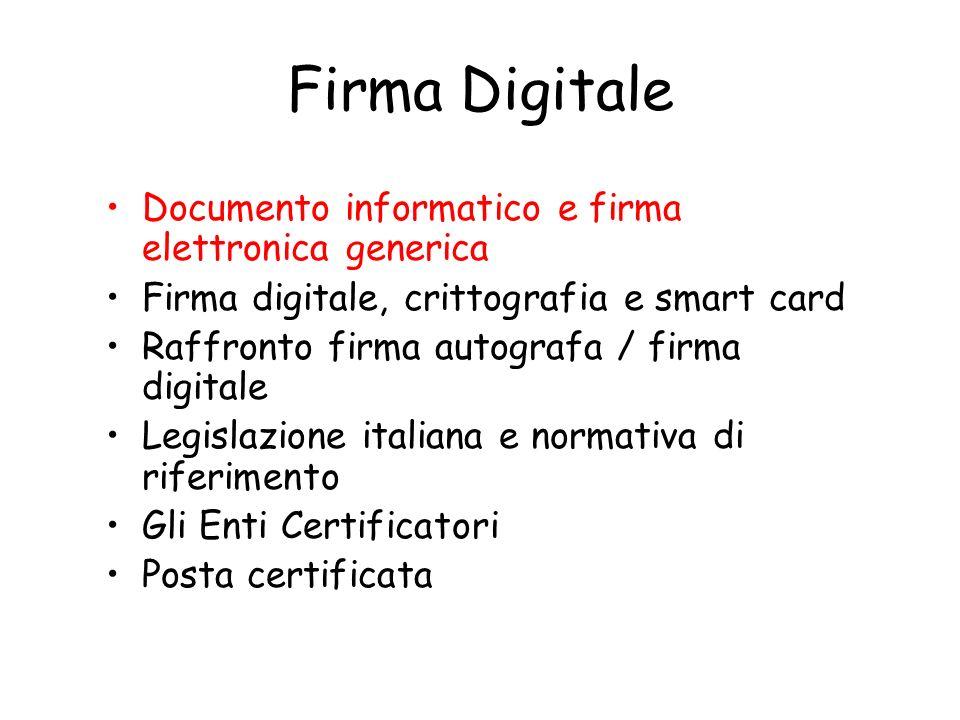 Firma Digitale Documento informatico e firma elettronica generica Firma digitale, crittografia e smart card Raffronto firma autografa / firma digitale