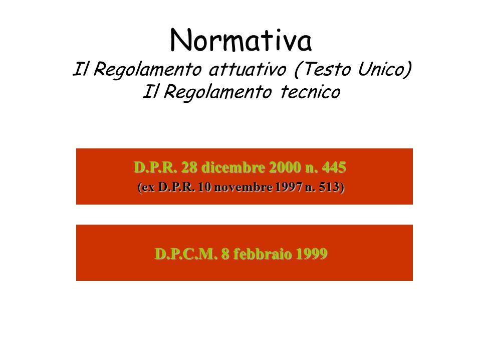 Normativa Il Regolamento attuativo (Testo Unico) Il Regolamento tecnico (ex D.P.R. 10 novembre 1997 n. 513) D.P.C.M. 8 febbraio 1999 D.P.R. 28 dicembr