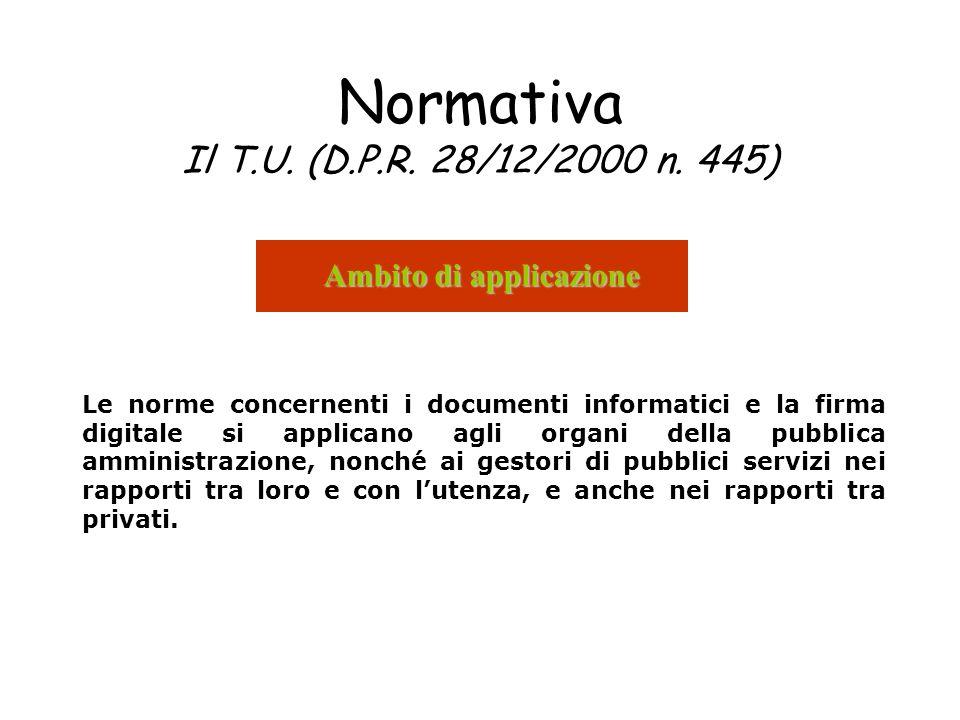 Normativa Il T.U. (D.P.R. 28/12/2000 n. 445) Ambito di applicazione Le norme concernenti i documenti informatici e la firma digitale si applicano agli