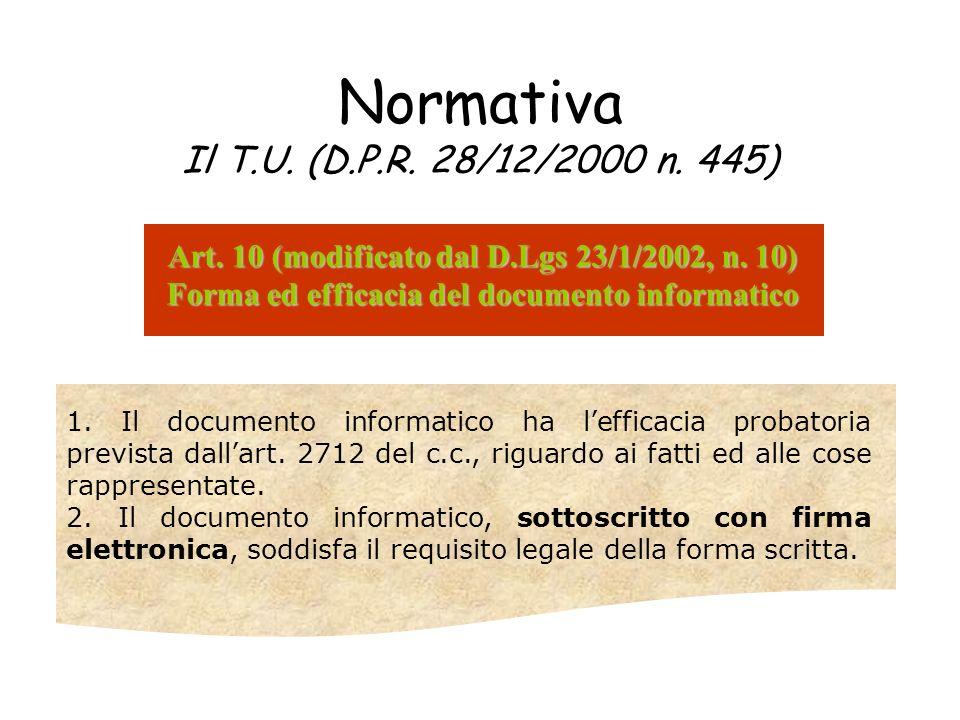 Normativa Il T.U. (D.P.R. 28/12/2000 n. 445) Art. 10 (modificato dal D.Lgs 23/1/2002, n. 10) Forma ed efficacia del documento informatico 1. Il docume