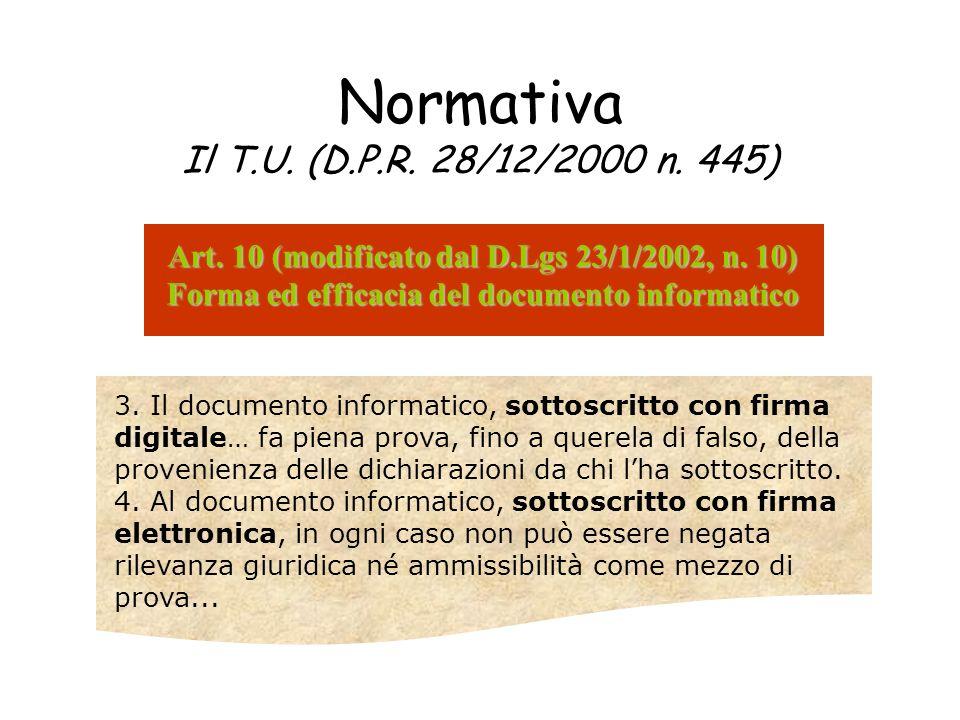 Normativa Il T.U. (D.P.R. 28/12/2000 n. 445) Art. 10 (modificato dal D.Lgs 23/1/2002, n. 10) Forma ed efficacia del documento informatico 3. Il docume