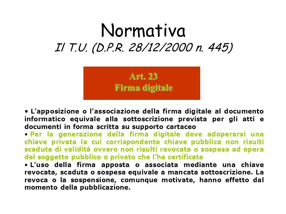 Normativa Il T.U. (D.P.R. 28/12/2000 n. 445) Lapposizione o lassociazione della firma digitale al documento informatico equivale alla sottoscrizione p