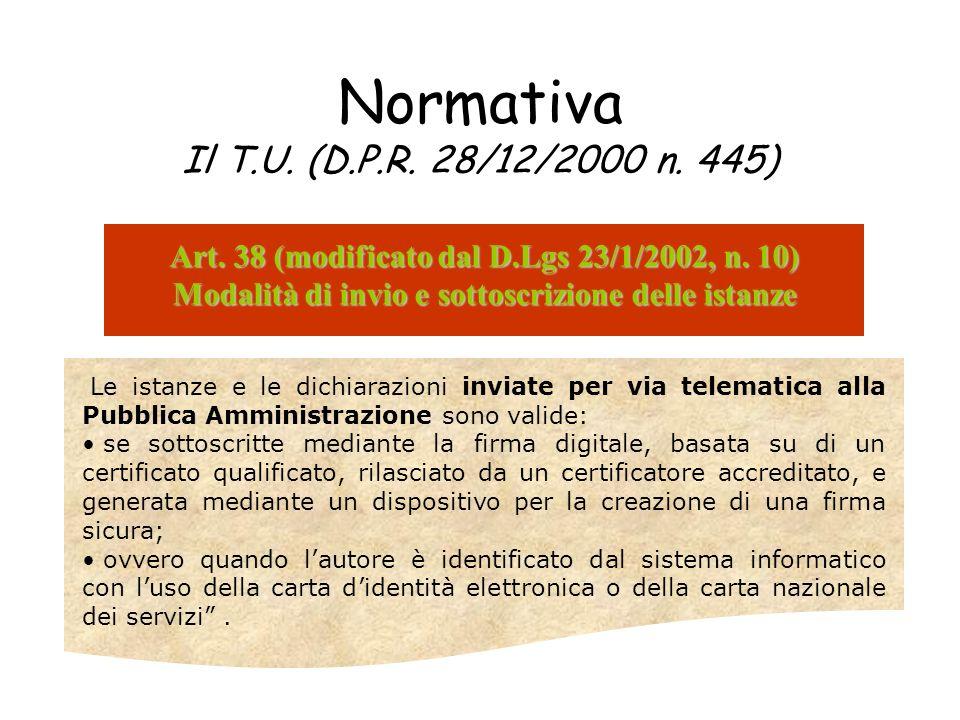 Normativa Il T.U. (D.P.R. 28/12/2000 n. 445) Art. 38 (modificato dal D.Lgs 23/1/2002, n. 10) Modalità di invio e sottoscrizione delle istanze Le istan