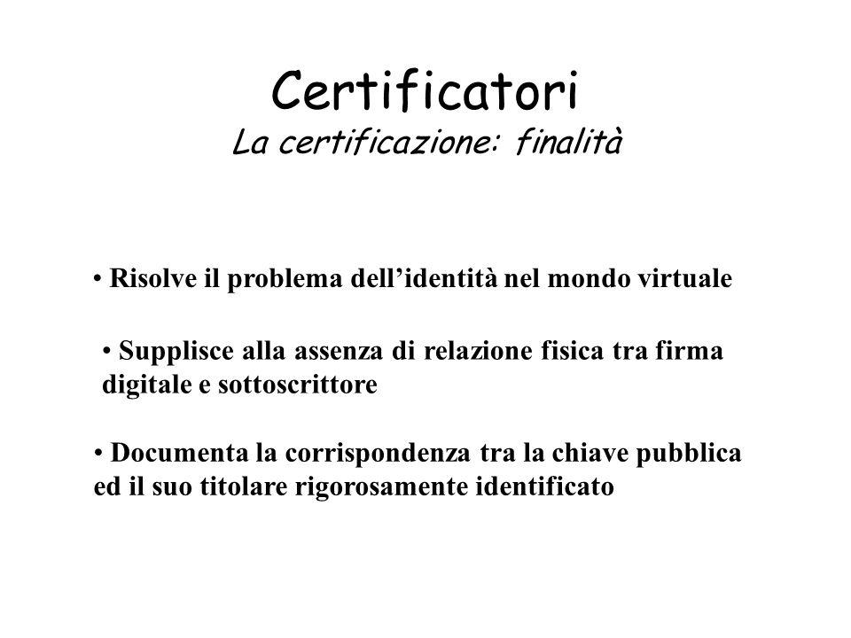Certificatori La certificazione: finalità Supplisce alla assenza di relazione fisica tra firma digitale e sottoscrittore Risolve il problema dellident
