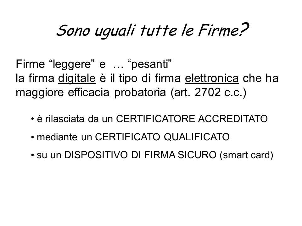 Sono uguali tutte le Firme ? Firme leggere e … pesanti la firma digitale è il tipo di firma elettronica che ha maggiore efficacia probatoria (art. 270