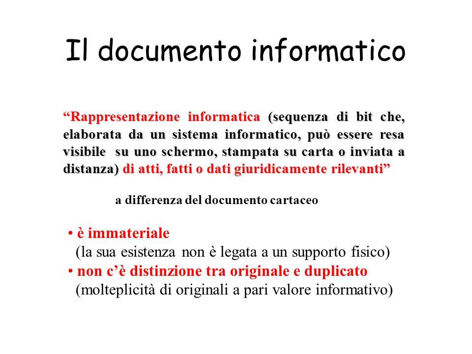 Il documento informatico Rappresentazione informatica (sequenza di bit che, elaborata da un sistema informatico, può essere resa visibile su uno scher