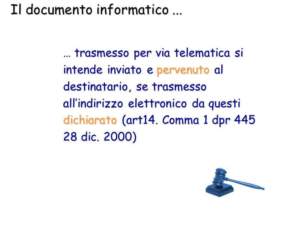 Il documento informatico... … trasmesso per via telematica si intende inviato e pervenuto al destinatario, se trasmesso allindirizzo elettronico da qu