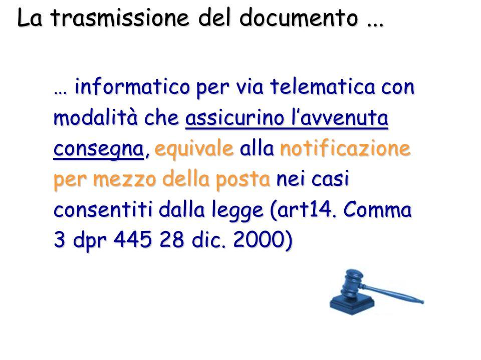 La trasmissione del documento... … informatico per via telematica con modalità che assicurino lavvenuta consegna, equivale alla notificazione per mezz