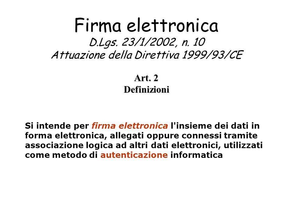 Firma elettronica D.Lgs. 23/1/2002, n. 10 Attuazione della Direttiva 1999/93/CE Art. 2 Definizioni Si intende per firma elettronica l'insieme dei dati