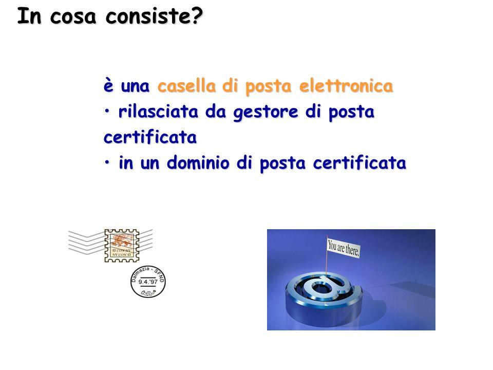 In cosa consiste? è una casella di posta elettronica rilasciata da gestore di posta certificata rilasciata da gestore di posta certificata in un domin