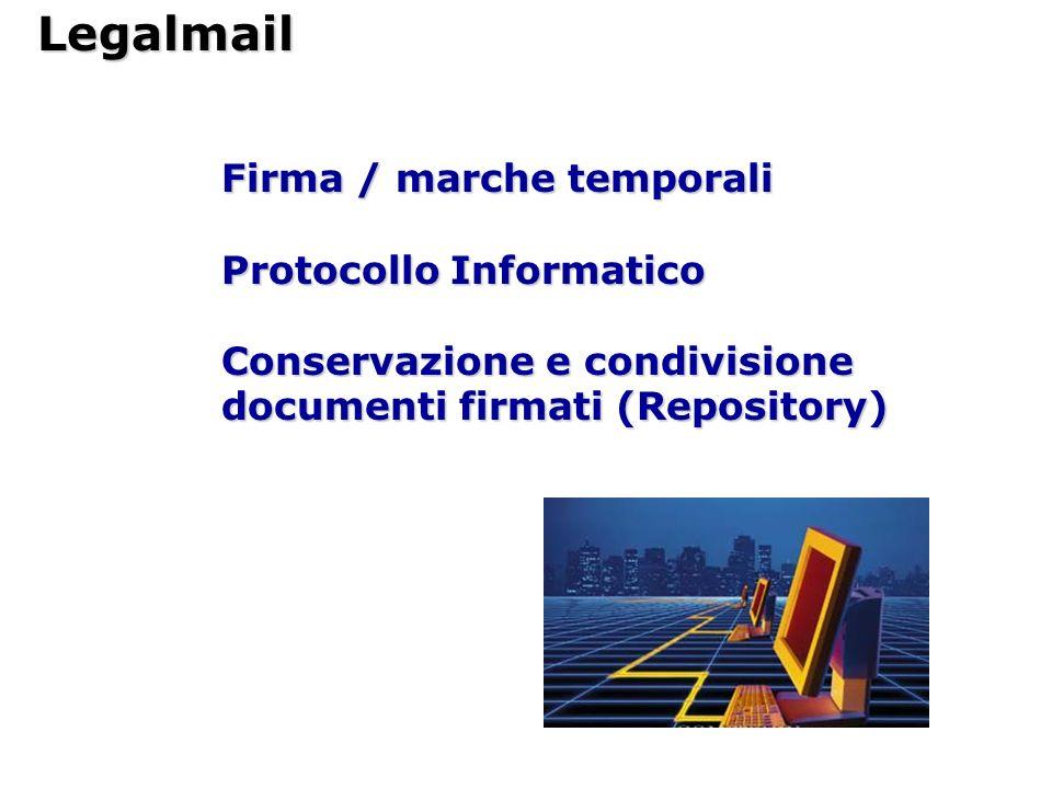 Legalmail Firma / marche temporali Protocollo Informatico Conservazione e condivisione documenti firmati (Repository)