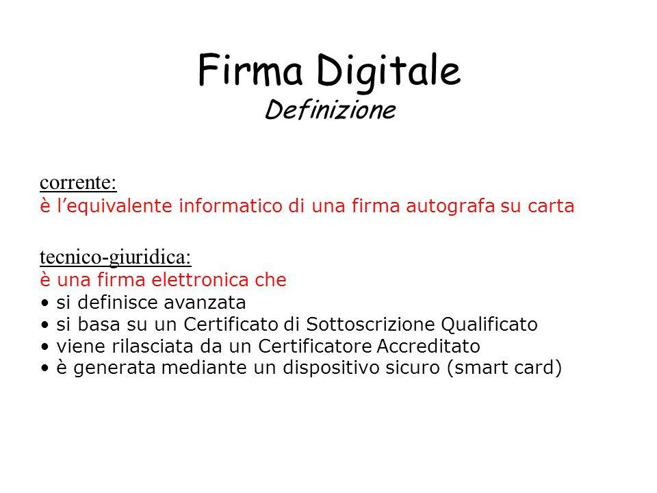 Firma Digitale Definizione corrente: è lequivalente informatico di una firma autografa su carta tecnico-giuridica: è una firma elettronica che si defi