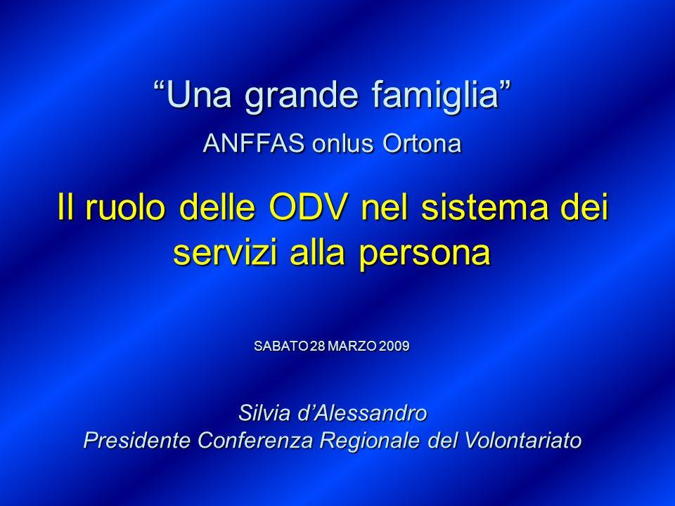 Una grande famiglia ANFFAS onlus Ortona Il ruolo delle ODV nel sistema dei servizi alla persona SABATO 28 MARZO 2009 Silvia dAlessandro Presidente Con