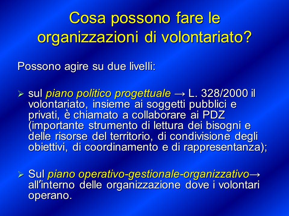 Cosa possono fare le organizzazioni di volontariato? Possono agire su due livelli: sul piano politico progettuale L. 328/2000 il volontariato, insieme