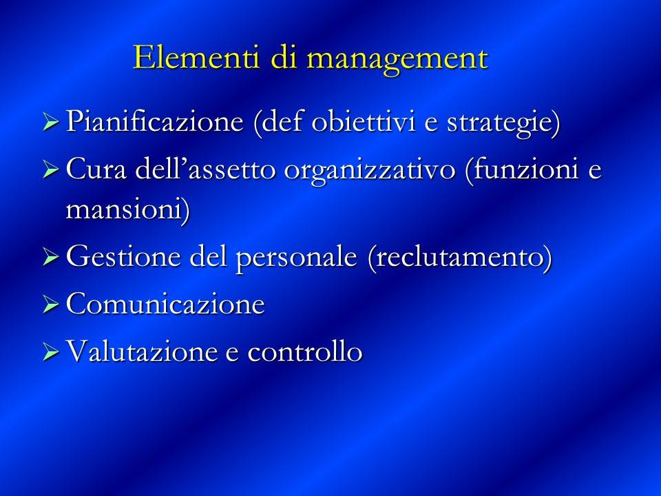 Elementi di management Pianificazione (def obiettivi e strategie) Pianificazione (def obiettivi e strategie) Cura dellassetto organizzativo (funzioni