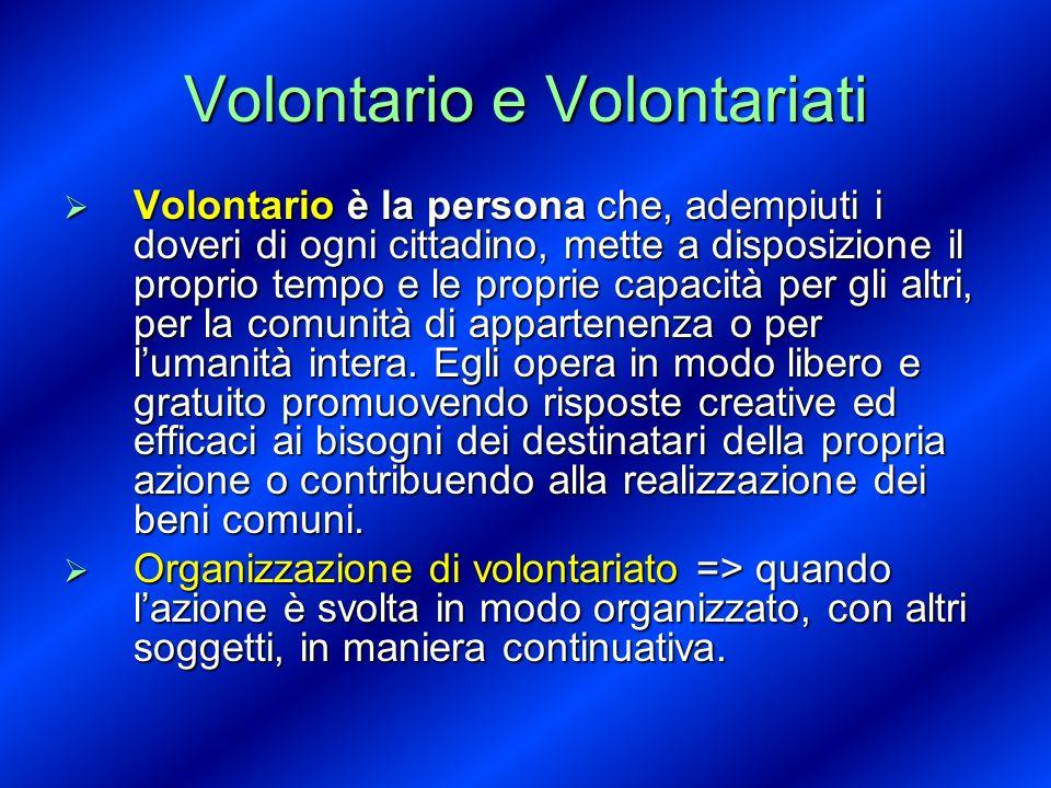 Volontario e Volontariati Volontario è la persona che, adempiuti i doveri di ogni cittadino, mette a disposizione il proprio tempo e le proprie capaci