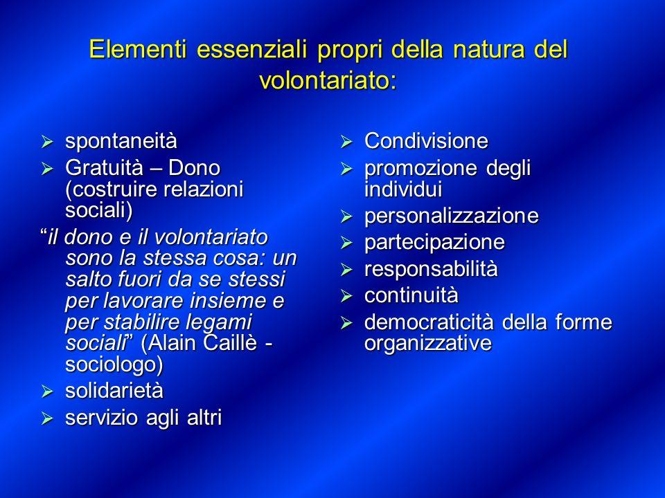 Elementi essenziali propri della natura del volontariato: spontaneità spontaneità Gratuità – Dono (costruire relazioni sociali) Gratuità – Dono (costr