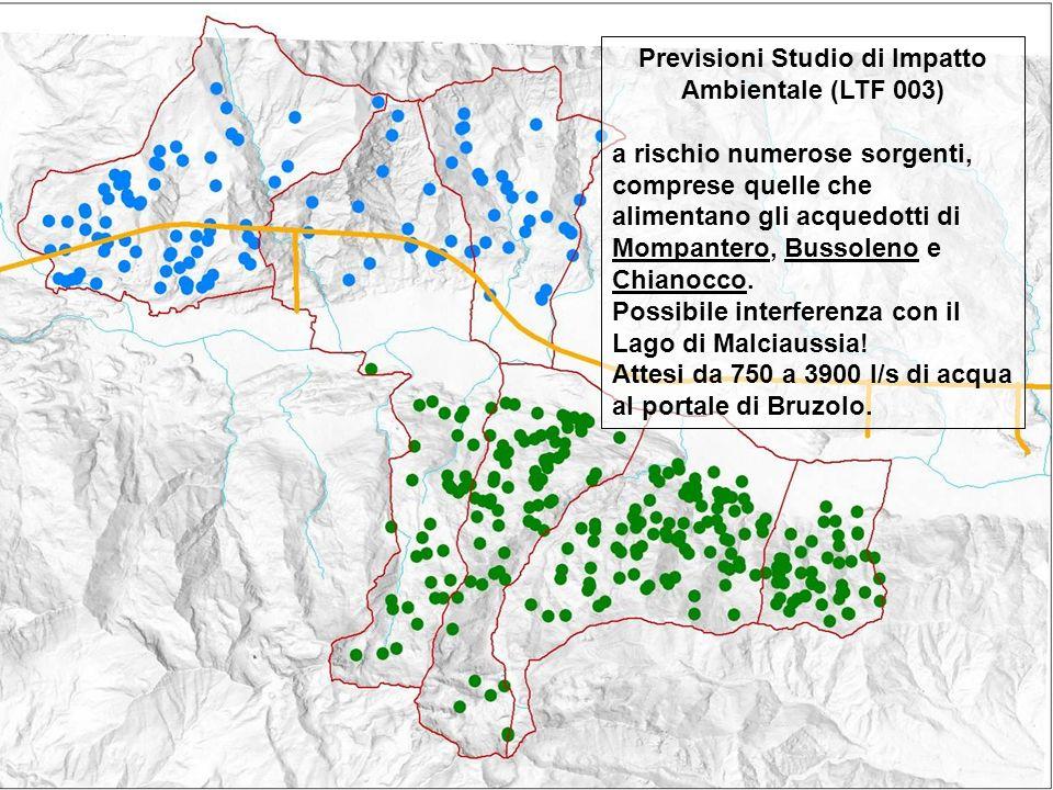 Previsioni Studio di Impatto Ambientale (LTF 003) a rischio numerose sorgenti, comprese quelle che alimentano gli acquedotti di Mompantero, Bussoleno