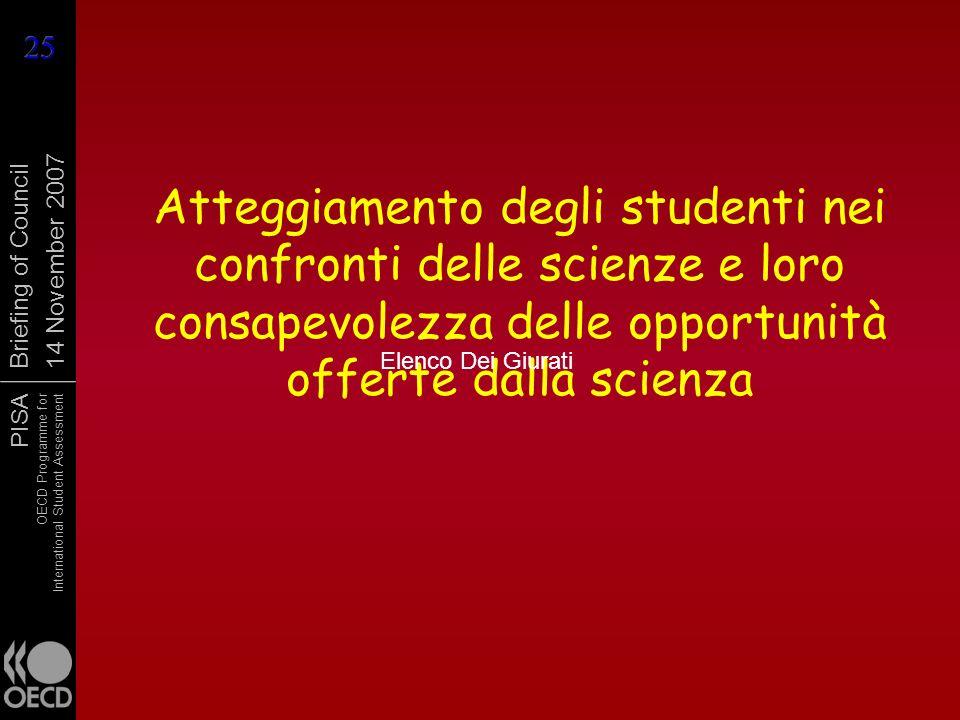 PISA OECD Programme for International Student Assessment Briefing of Council 14 November 2007 Atteggiamento degli studenti nei confronti delle scienze