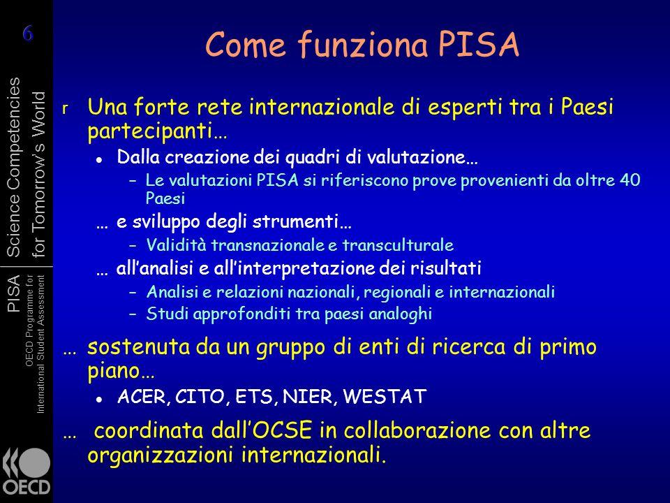 PISA OECD Programme for International Student Assessment Science Competencies for Tomorrows World r Una forte rete internazionale di esperti tra i Pae
