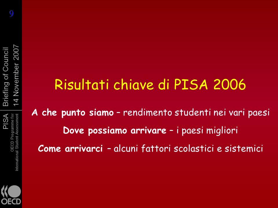 PISA OECD Programme for International Student Assessment Briefing of Council 14 November 2007 Risultati chiave di PISA 2006 A che punto siamo – rendim