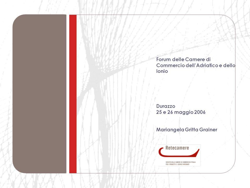 Forum delle Camere di Commercio dellAdriatico e dello Ionio Durazzo 25 e 26 maggio 2006 Mariangela Gritta Grainer