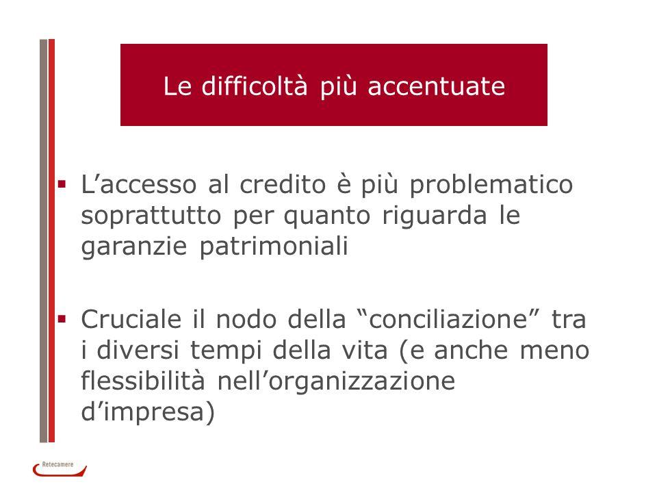 Le difficoltà più accentuate Laccesso al credito è più problematico soprattutto per quanto riguarda le garanzie patrimoniali Cruciale il nodo della co