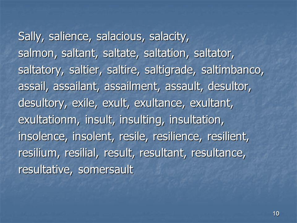 10 Sally, salience, salacious, salacity, salmon, saltant, saltate, saltation, saltator, saltatory, saltier, saltire, saltigrade, saltimbanco, assail,