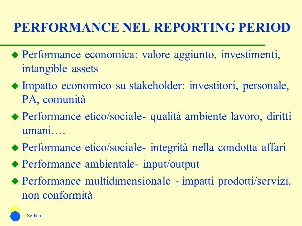 PERFORMANCE NEL REPORTING PERIOD u Performance economica: valore aggiunto, investimenti, intangible assets u Impatto economico su stakeholder: investi