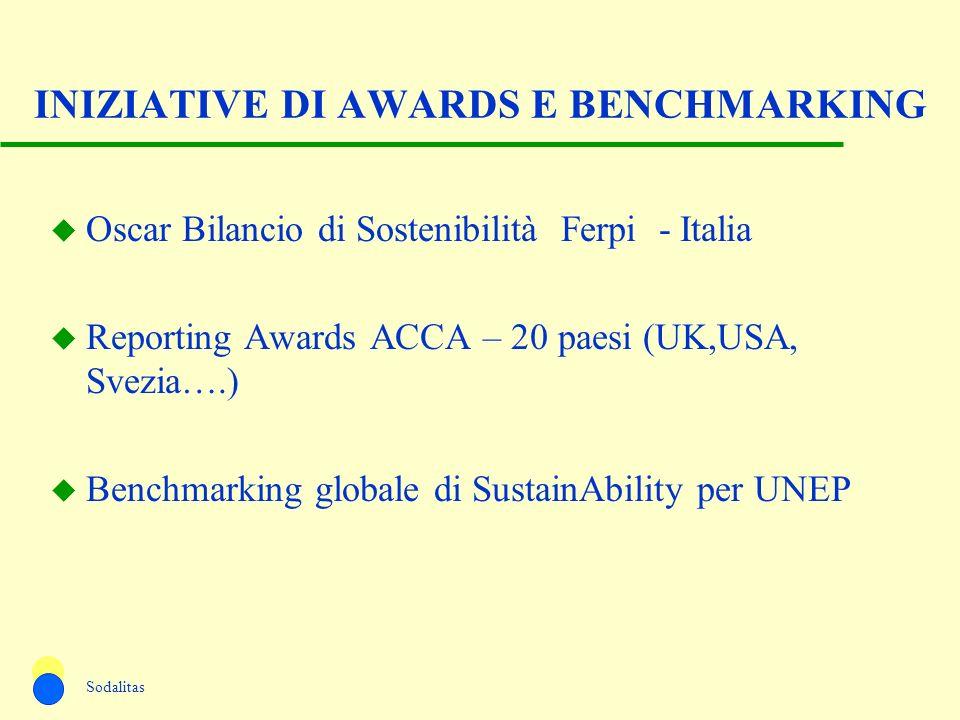 INIZIATIVE DI AWARDS E BENCHMARKING u Oscar Bilancio di Sostenibilità Ferpi - Italia u Reporting Awards ACCA – 20 paesi (UK,USA, Svezia….) u Benchmark