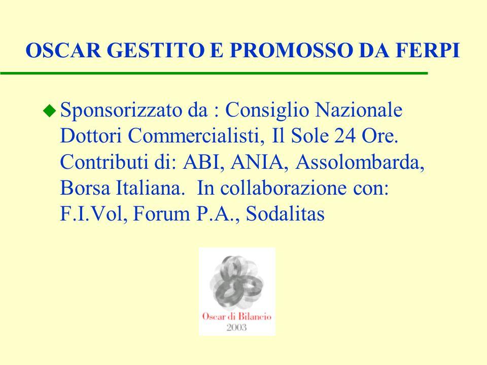 OSCAR GESTITO E PROMOSSO DA FERPI u Sponsorizzato da : Consiglio Nazionale Dottori Commercialisti, Il Sole 24 Ore. Contributi di: ABI, ANIA, Assolomba