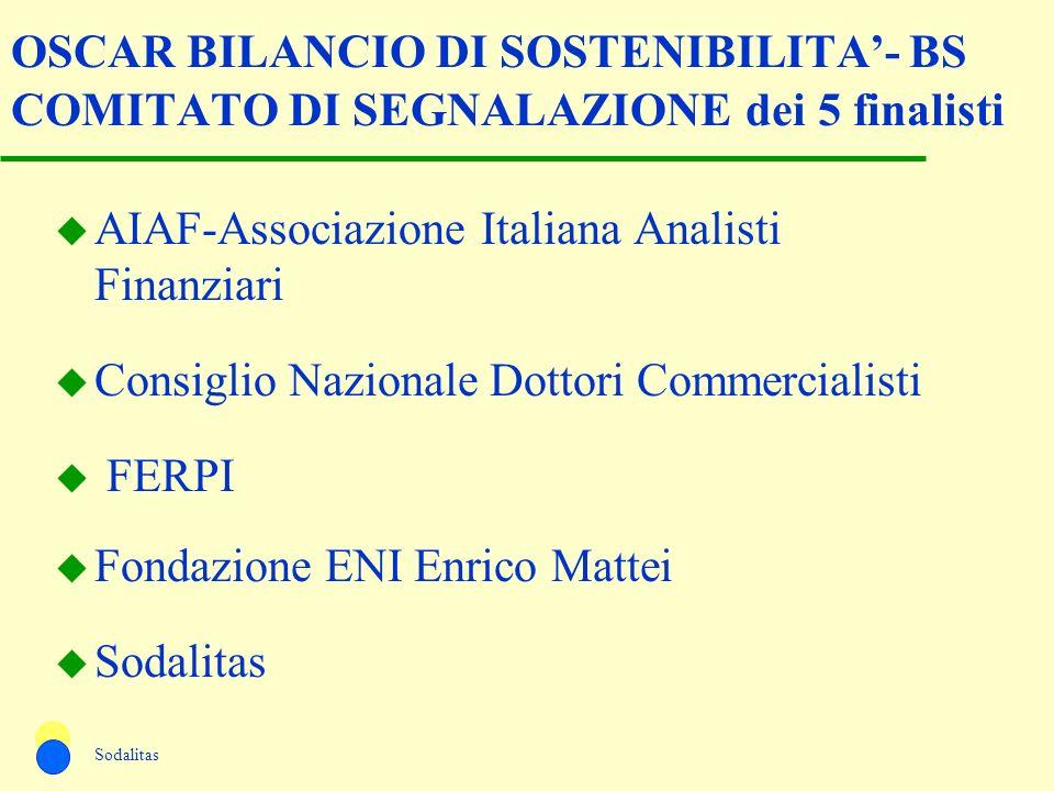OSCAR BILANCIO DI SOSTENIBILITA- BS COMITATO DI SEGNALAZIONE dei 5 finalisti u AIAF-Associazione Italiana Analisti Finanziari u Consiglio Nazionale Do