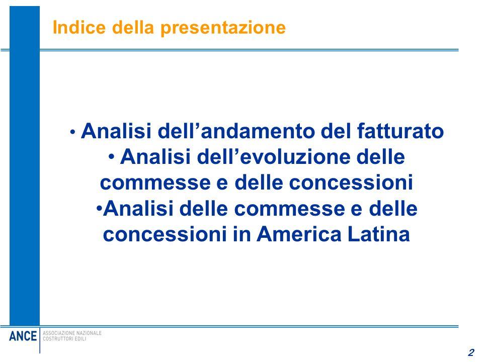 2 Indice della presentazione 2 Analisi dellandamento del fatturato Analisi dellevoluzione delle commesse e delle concessioni Analisi delle commesse e