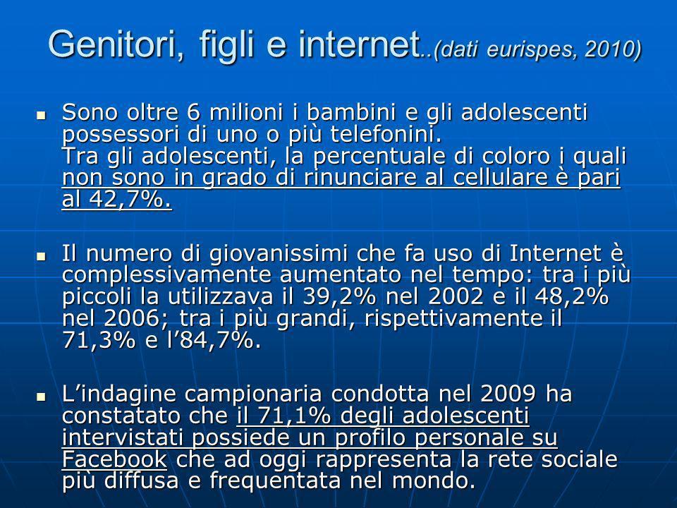 Nel 2006, nellanalisi del rapporto tra Web e minori, è emerso che gli adolescenti italiani navigano nella maggioranza dei casi da soli (74,8%), mentre solo il 2,5% naviga in compagnia dei propri genitori.
