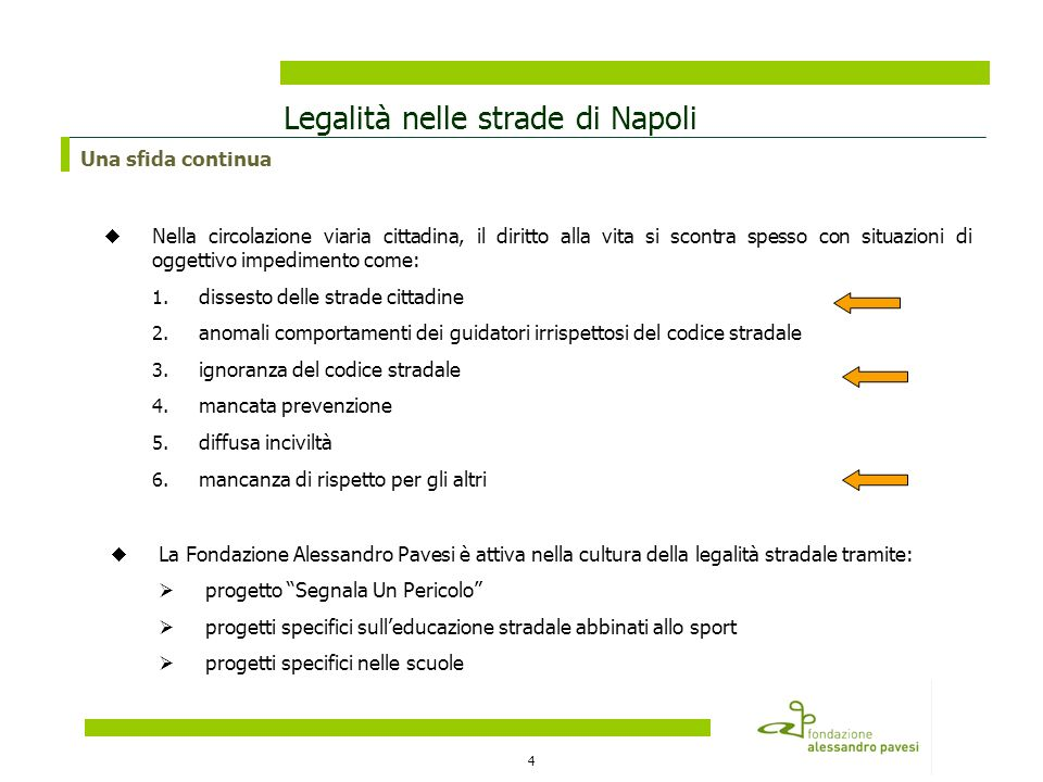 4 Legalità nelle strade di Napoli Nella circolazione viaria cittadina, il diritto alla vita si scontra spesso con situazioni di oggettivo impedimento come: 1.