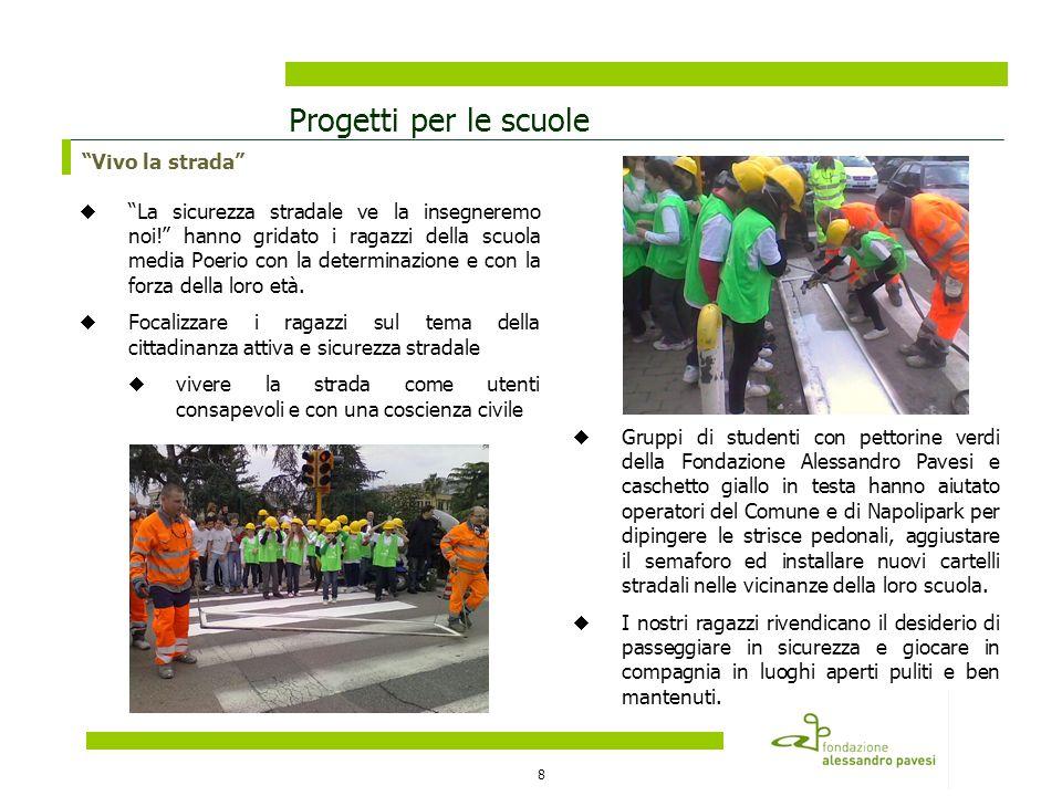 8 Progetti per le scuole Vivo la strada La sicurezza stradale ve la insegneremo noi! hanno gridato i ragazzi della scuola media Poerio con la determin